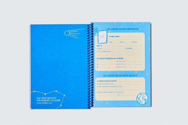 agenda escolar per primària cosmos amb espiral d'additio, interior